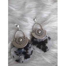 Σκουλαρίκια ασπρόμαυρα pelxi glass