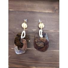 Σκουλαρίκια χρυσό και pelxi glass