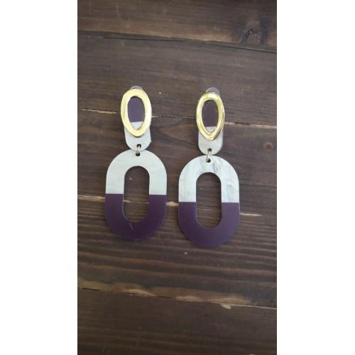 Σκουλαρίκια χρυσό και άσπρο μώβ