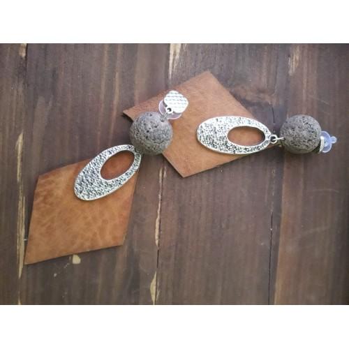 Σκουλαρίκια  δέρμα ασήμι και πέτρα