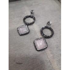 Σκουλαρίκια ροζ κουάρτζ με μαρκασίτη