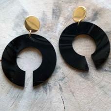 Σκουλαρίκια  plexi glass μαύρα κύκλοι